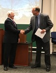 Dr. Hirst congratulates John Norton Moore at close of National Security Law Institute 2017